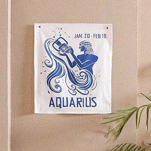 Boho Aquarius Zodiac Tapestry Hanging